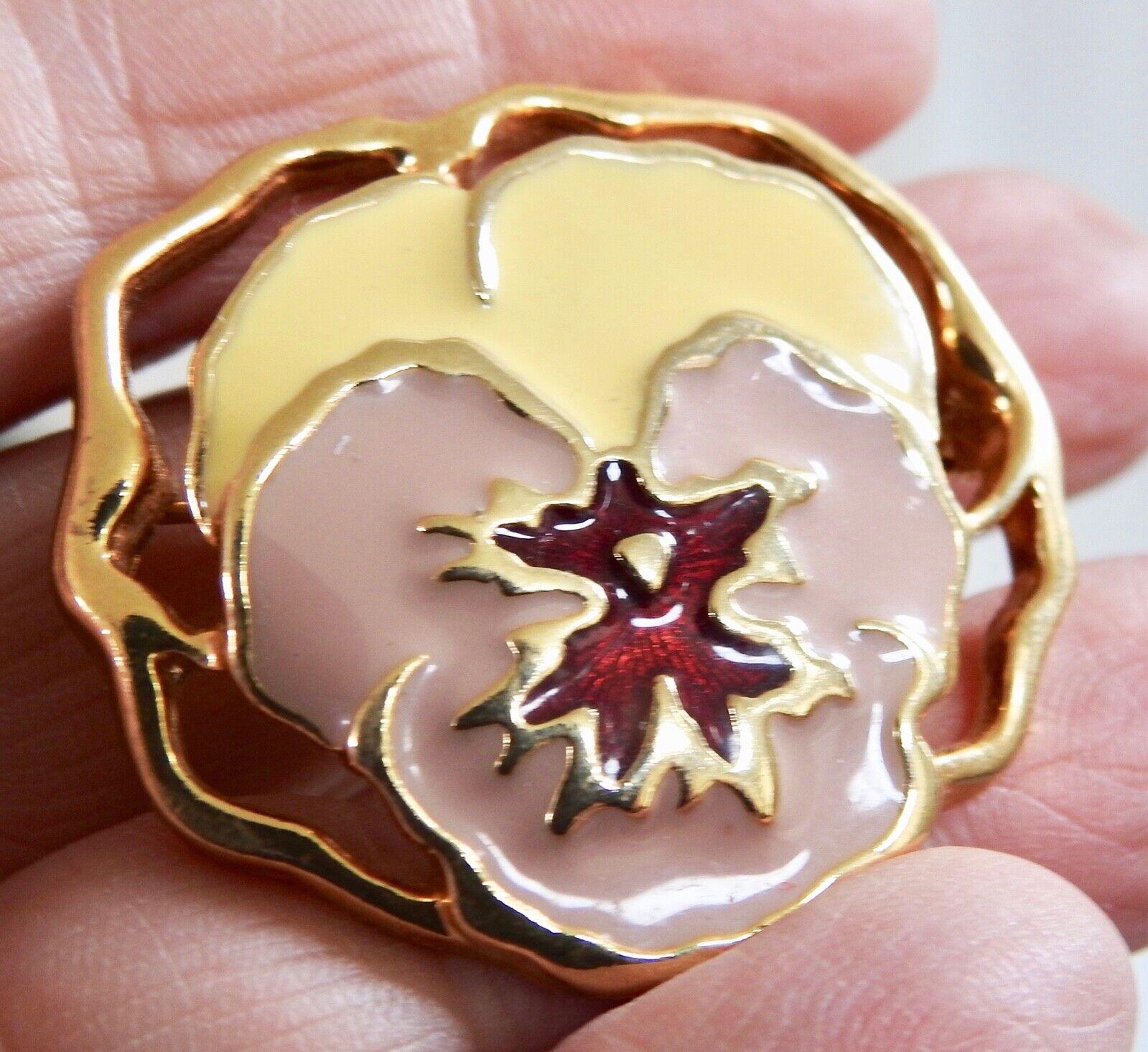 PANSY PIN enamel floral flower pin brooch goldton… - image 2