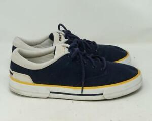 Vintage-Polo-Sport-Ralph-Lauren-Sneaker-Scarpe-Basse-Blu-Giallo-Misura-10-5