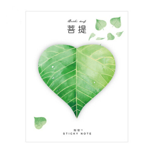 Hot Natural Plant Leaf Memo Pad Sticky Notepad Kawaii Stickers Message Note