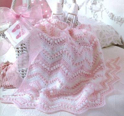 Crochet Pattern Baby Cot Pram Blanket Pretty In Pink Lovely