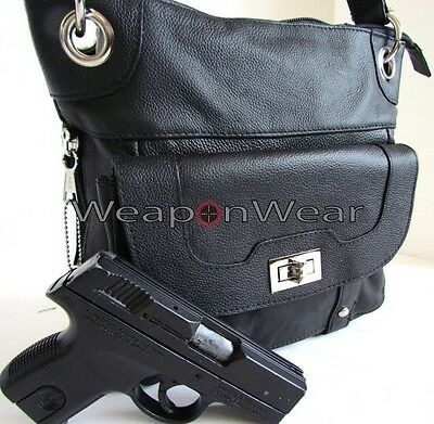 #40 Black Leather Locking Concealment/Concealed Carry CCW Holster Gun Bag Purse