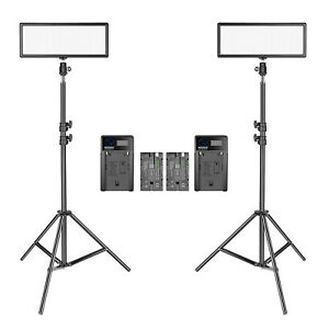 Neewer-2pcs-Super-Slim-Bi-Color-Dimmable-LED-Video-Light-with-Light-Stand-Kit