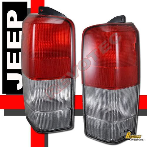 97-01 Jeep Cherokee Red Clear Tail Lights Lamps 1 Pair 98 99 00
