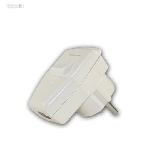 Schukostecker mit Schalter, 230V/16A, weiß, Schuko-Winkelstecker