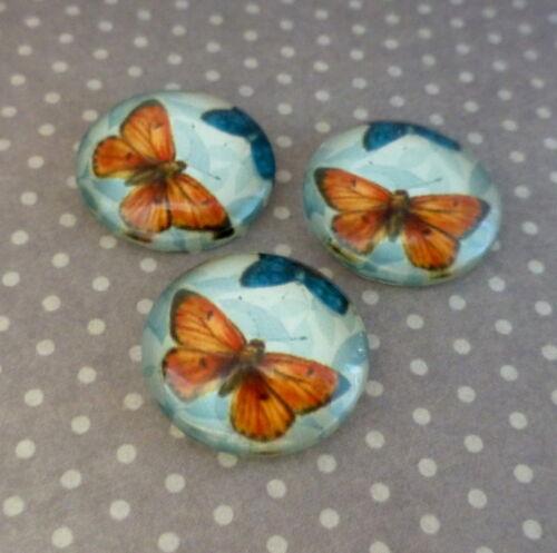 10 piezas de vidrio cabujón con Mariposa Naranja 16mm