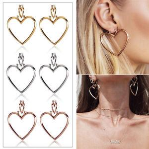 Image Is Loading Heart Hoop Earrings Hip Hop Gold Silver