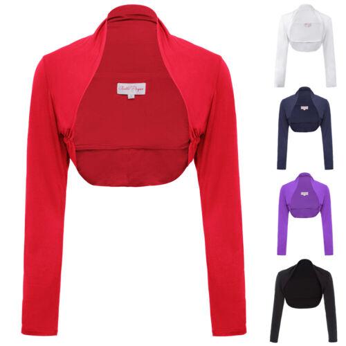 Vintage Damen Modal Bequeme Langarm Shrug Bolero Cardigan Crop Top Jacke 5 Farbe