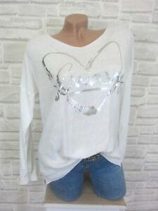 NEU-Leichter-Feinstrick-Shirt-Pulli-Pullover-Print-38-40-42-Weiss-P145