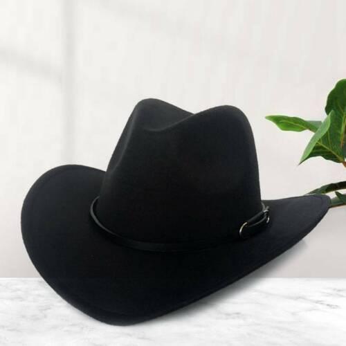Women Men Winter Retro Wide Brim Hat Cowboy Cow girl Hat Felt Jazz Cap Chic