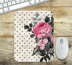 Flowers and Dots Mouse Pad Easy Glide Non Slip Neoprene - Gift Ideas