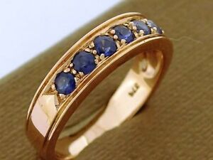R077-Genuine-9K-Rose-Gold-NATURAL-Sapphire-ETERNITY-Band-7-stone-Ring-size-M