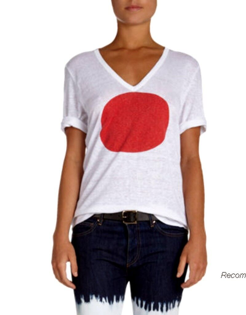 ISABEL MARANT ÉTOILE Granger Slub Jeaneret Japan - print T-shirt Linen Small 36