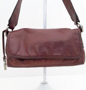 Image Is Loading Fossil 1954 Dark Brown Leather Rustic Flap Medium