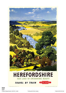 HEREFORD-HEREFORDSHIRE-HOLIDAY-RETRO-VINTAGE-RAILWAY-TRAVEL-POSTER-ADVERTISING