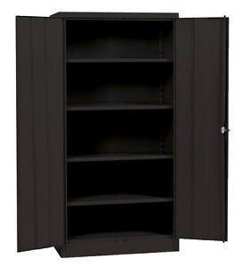 Image Is Loading Metal Storage Cabinet Steel Locking Doors 5 Shelves