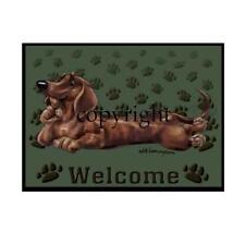 Dachshund Hot Dog Breed Paws Cartoon Artist Large Green Welcome Door Mat Rug