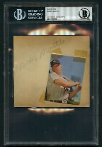Mickey Mantle signed autograph auto 5x5 Vintage Album Page Yankee BAS Slabbed