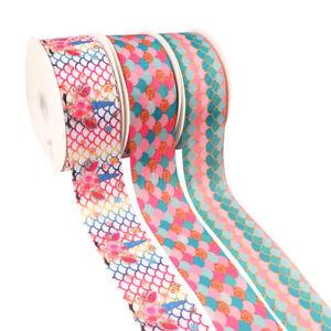 2Yards-lot-3-034-Mermaid-Printed-Grosgrain-Ribbon-DIY-Handmade-Hair-Bow-Materials