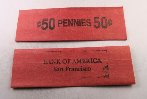 10 Vintage 50C Penny Flat Wrap Roll //// BANK OF AMERICA SAN FRAN //// 10 Wraps
