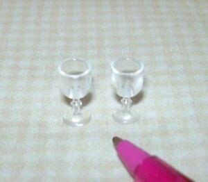Miniature-Farrow-ELEGANT-Plastic-Wine-Stems-SET-of-2-DOLLHOUSE-1-12