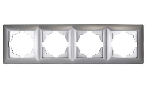 Gunsan Visage 4-fach Rahmen Steckdosen Schalter Dimmer Silber 1281500000145