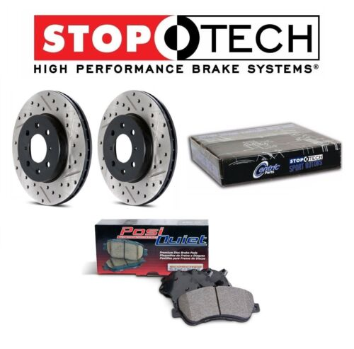 For Acura Honda Front StopTech Slotted /& Drilled Brake Rotors Set Ceramic Pads