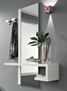 Consolle Ingresso Moderno.Dettagli Su Mobile Ingresso Moderno Alba Specchio Consolle New Bianco Opaco 2 Appendini
