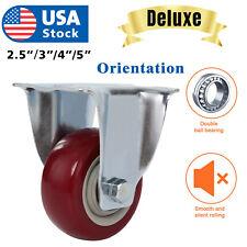 Usa Heavy Duty Caster Set 3 4 5inch Polyurethane On Cast Wheels No Mark Red