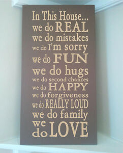 Beautiful 10x24 Wooden Board Sign With Subway Art Quote