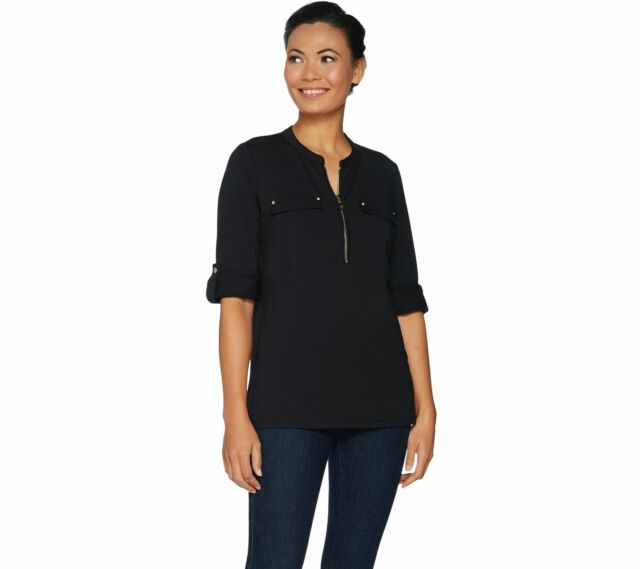 Belle by Kim Gravel Women's X-Large Black TripleLuxe Long Sleeve Utility Shirt