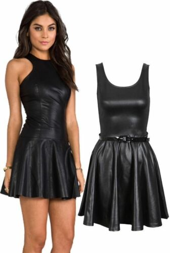 WOMENS LADIES WET LOOK PU STRETCH FLARED BELTED SKATER PARTY DRESS PLUS SIZ 8-26