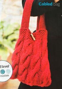 KNITTING-PATTERN-Ladies-Cable-Design-Bag-Handbag-Button-Debbie-Bliss-PATTERN