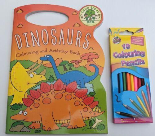 Dinosaure Coloriage /& Activité Livre poignée de transport /& Boîte 10 crayons