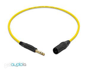 """100% De Qualité Mogami 2549 Cable   Neutrik Gold 1/4"""" Trs Xlr-m   Yellow 1 Feet   1 Ft.   1' Prix De Vente"""