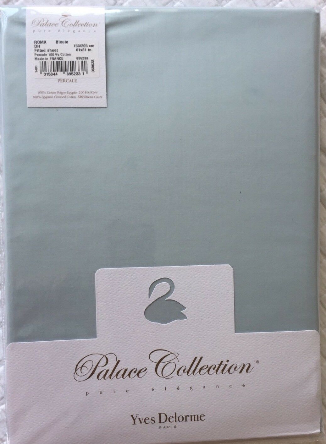 YVES DELORME ROMA BlauTE FITTED SHEET KING PALACE COLLECTION LUXURY