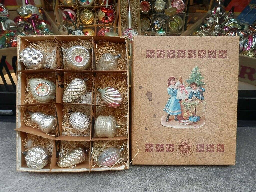NATALE CHRISTMAS antiche decorazioni VETRO victorian tree decorations antique