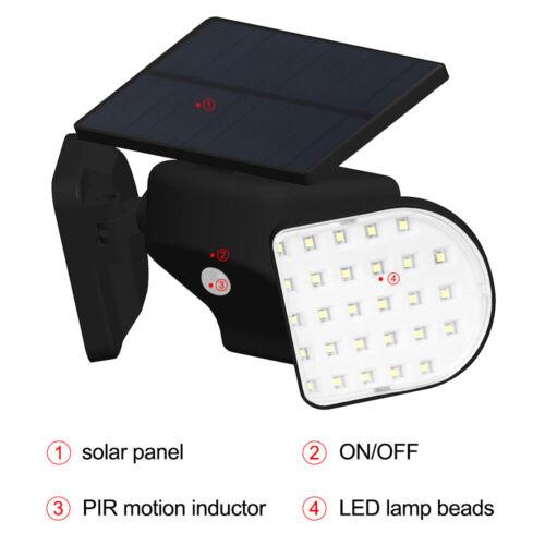 LED Solarleuchte Solarlampe mit Bewegungsmelder Außen Fluter Sensor Strahler