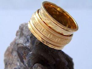 Spinner Ethnic Handmade 925 Gold plated ring W14921