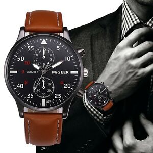 a49b8ed357a Details about Retro Design Leather Band Watches Men Top Brand Relogio  Masculino NEW Mens Sport