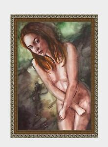 aquarelle-watercolor-A4-nude-female-drawing-originale-nu-women-woman-girl-new