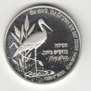 1998-Holy-Land-Wildlife-Stork-and-Fir-Tree-PR-Coin-2NIS-28-8g-Silver-3