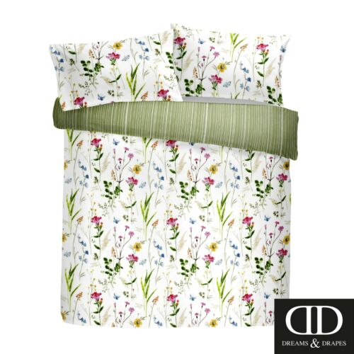 Dreams /& Drapes SPRING GLADE Floral Bedding /& Pencil Pleat Curtains White Green