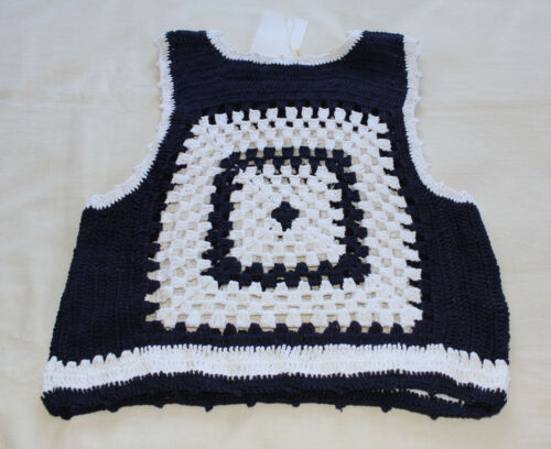 Zara Trafaluc Collection Ladies Navy White Crochet Cropped Top Size M New