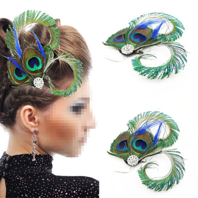 ef59ff5248e Peacock Feather Fascinator Hair Clip Wedding Gatsby Party Vintage Headpiece  New