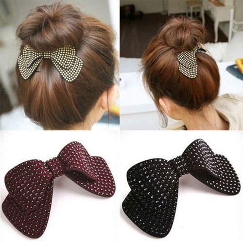 Couche Double Nœud Ruban Noeud Cheveux PINS Coiffure Strass Cristal Pince à cheveux