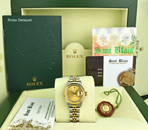 ROLEX-Ladies-18kt-Gold-amp-Stainless-DateJust-Champagne-Stick-69173-SANT-BLANC
