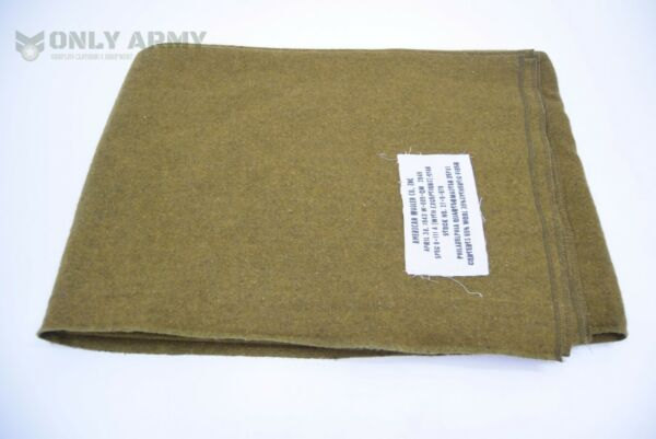 Diplomatico Us Army Wool Blanket Military Bedding Premium Quality Mustard Brown Ww2 Pattern