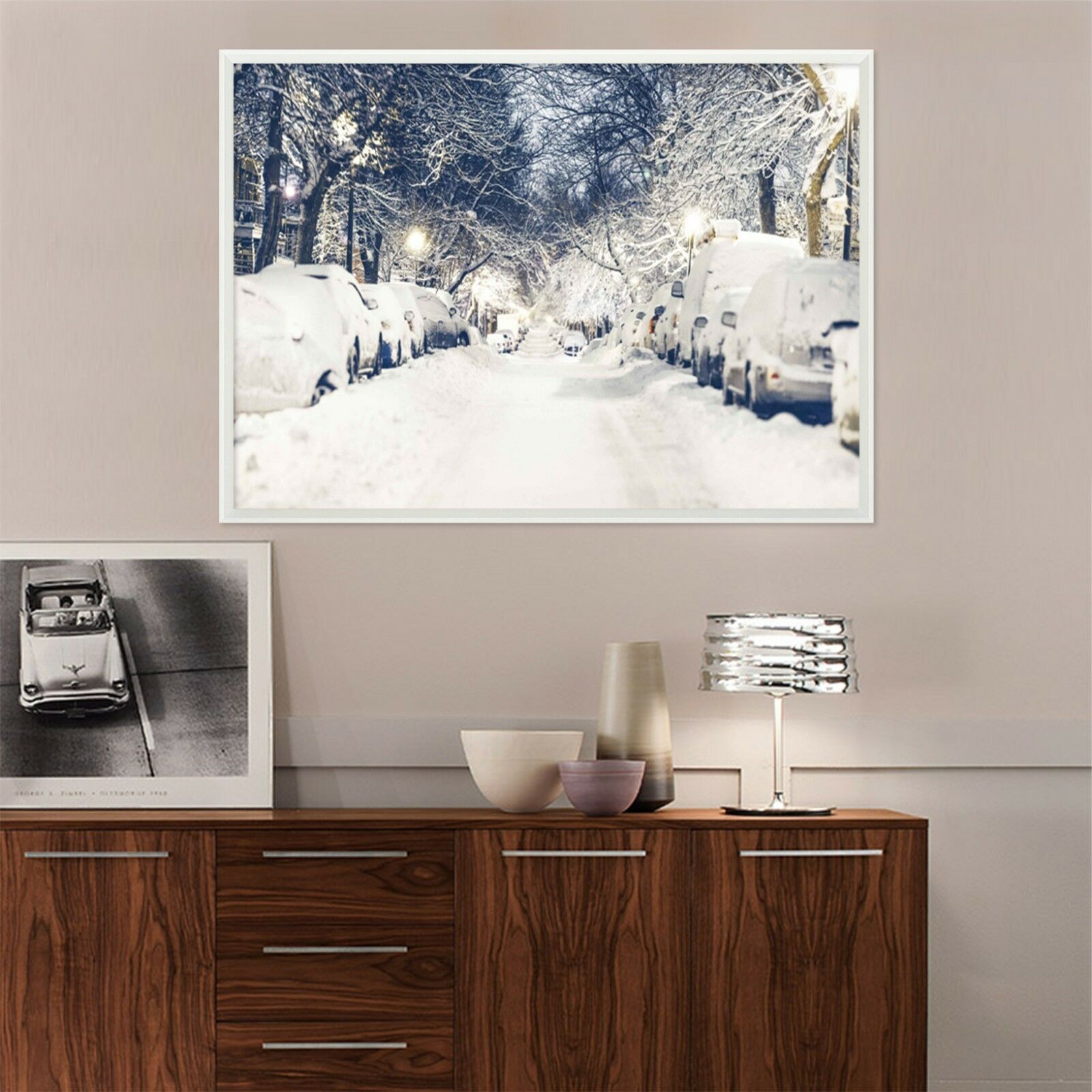 3D Street Car Snow Scene 2 Framed Poster Home Decor Print Painting Art WALLPAPER