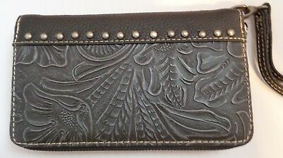 Trinity Ranch Genuine Leather Tooled Wallet Wristlet Gray Turquoise Concho