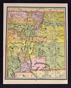 1888 Cram Map New Mexico Taos Santa Fe Albuquerque Los Lunas
